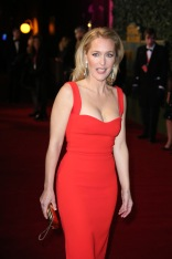 Gillian Anderson poses for photographers upon arrival the Evening Standard Theatre Awards in London, Sunday, Nov. 22, 2015. (Photo by Joel Ryan/Invision/AP)