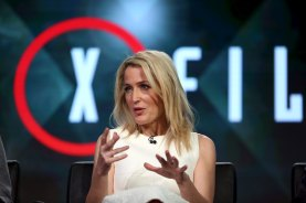 "Actress Gillian Anderson of ""The X Files"" speaks during the Fox Network presentation at the Television Critics Association (TCA) winter press tour in Pasadena, California January 15, 2016. REUTERS/David McNew"