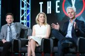 "Actors David Duchovny, from left, Gillian Anderson and creator/executive producer Chris Carter participate in ""The X Files"" panel at the Fox Winter TCA on Friday, Jan. 15, 2016, Pasadena, Calif. (Photo by Richard Shotwell/Invision/AP)"
