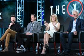 "Actors Joel McHale, from left, David Duchovny, Gillian Anderson and creator/Executive producer Chris Carter participate in ""The X Files"" panel at the Fox Winter TCA on Friday, Jan. 15, 2016, Pasadena, Calif. (Photo by Richard Shotwell/Invision/AP)"