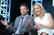 "Actors David Duchovny, left, and Gillian Anderson participate in ""The X Files"" panel at the Fox Winter TCA on Friday, Jan. 15, 2016, Pasadena, Calif. (Photo by Richard Shotwell/Invision/AP)"