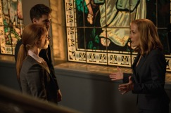 "THE X-FILES: L-R: Guest star Lauren Ambrose, guest str Robbie Amell and Gillian Anderson in the ""My Struggle II"" season finale episode of THE X-FILES airing Monday, Feb. 22 (8:00-9:01 PM ET/PT) on FOX. ©2016 Fox Broadcasting Co. Cr: Ed Araquel/FOX"